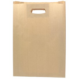 Papiertüten Kraft mit Griffloch 31+8x42cm (50 Stück)