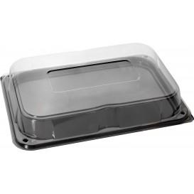 Plastikplatte schwarz mit Deckel PET 35x24cm (15 Stück)