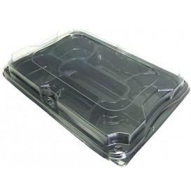 Plastikplatte schwarz 7F mit Deckel 35x24cm (5 Stück)