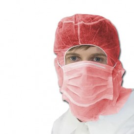 Astro Haube mit Maske auf 3 Lagig Rot (500 Stück)
