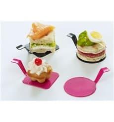 "Plastikteller ""Gourmand"" Himbeere 4x4cm (50 Stück)"