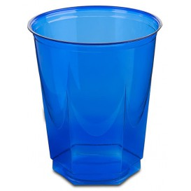 Plastikbecher Sechseckig PS Glasklar Blau 250ml (250 Uds)