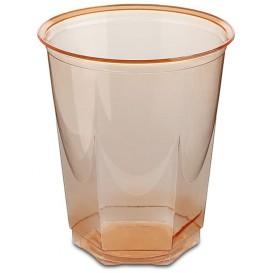 Plastikbecher Sechseckig PS Glasklar Orange 250ml (250 Uds)