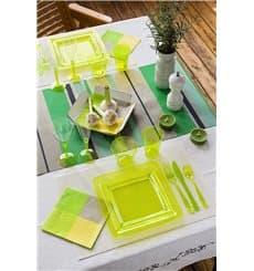 Viereckiger Plastikteller extra Stark grün 22,5x22,5cm (6 Stück)