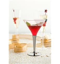 Cocktailglas Plastik mit Fuß Silber 100ml (6 Stück)