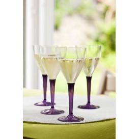 Weinglas mit Fuß Aubergine 130ml zweiteilig (6 Stück)
