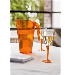 Weinglas mit orangenem Fuß einteilig 130ml zweiteilig (6 Stück)
