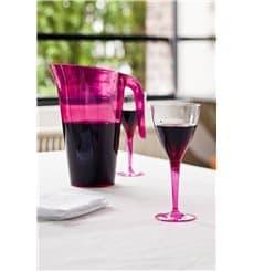 Weinglas mit himbeerfarbenem Fuß 130ml zweiteilig (60 Stück)