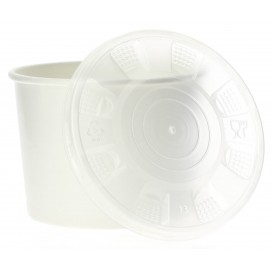 Pappbecher Weiß mit Deckel PP 350ml (250 Stück)