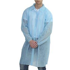 Einweg Schutzmäntel für Besuch Klettverschluss Ohne Tasche Blau (10 Stück)