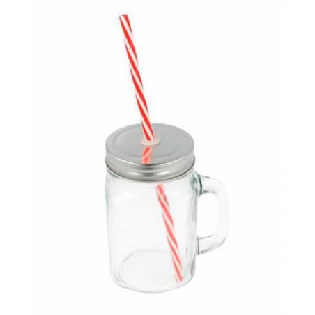 Glaskanne mit Deckel und Trinkhalm 450 ml (24 Stück)