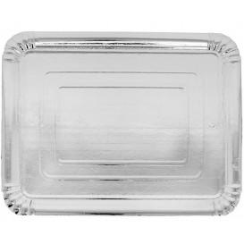 Pappschale rechteckig Silber 14x21 cm (100 Stück)