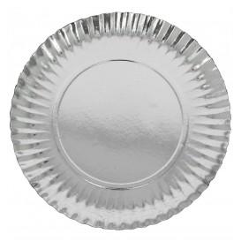 Pappteller Rund Silber 120 mm (100 Stück)