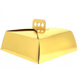 Tortenkarton quadratisch gold 34,5x34,5x10 cm (100 Stück)