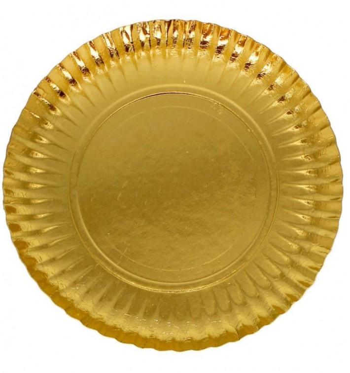Pappteller Rund Golden 100 mm (100 Stück)
