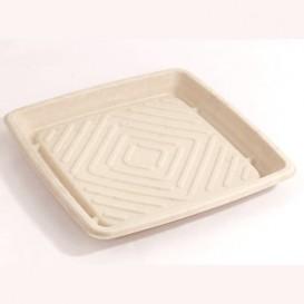 Tablett Zuckerrohr Quadratisch Natürlich 27x27cm (5 Stück)