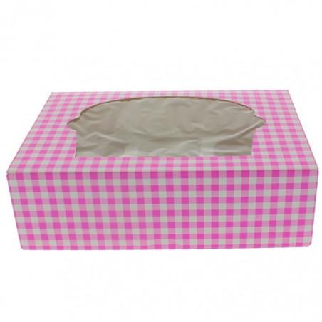 Cupcake Box für 6 Cupcakes 24,3x16,5x7,5cm pink (100 Stück)