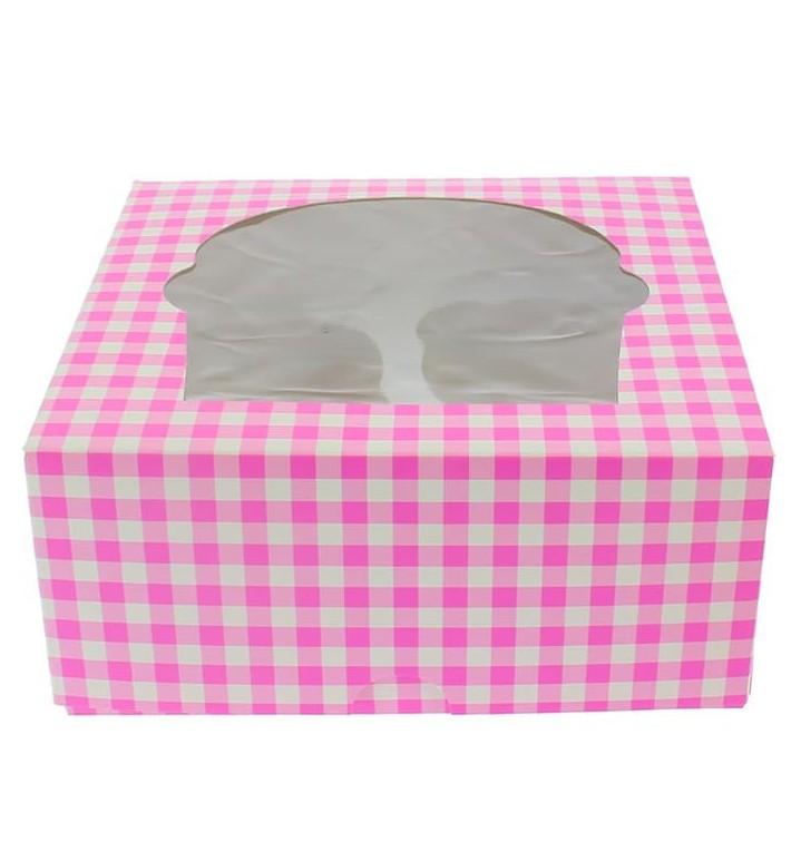 Cupcake Box für 4 Cupcakes 17,3x16,5x7,5cm pink