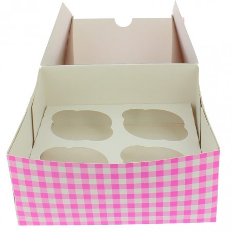Cupcake Box für 4 Cupcakes 17,3x16,5x7,5cm pink (140 Stück)