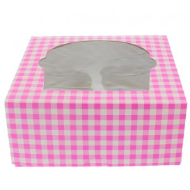 Cupcake Box für 4 Cupcakes 17,3x16,5x7,5cm pink (20 Stück)