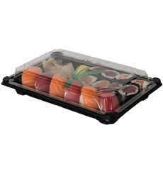Verpackung für Sushi PLA schwarz 13,0x18,0 cm (600 Stück)