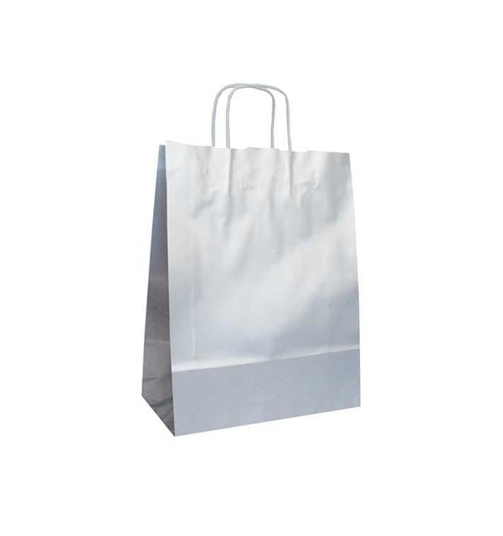 Bolsa de Papel Blanca con ASAS KRAFT 80g 27x26x14cm (50 Uds)