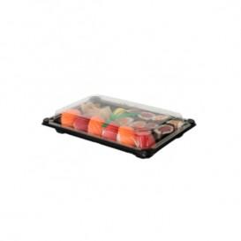 Verpackung mit Deckel Sushi PLA schwarz 15,0x23,0 cm (100 Stück)