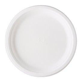 Teller Zuckerrohr-Fasern Bagasse Weiß Ø25,3 cm (50 Stück)