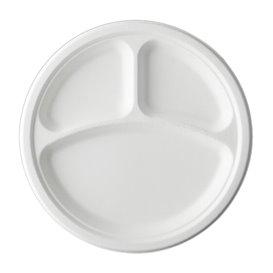 Teller Zuckerrohr-Fasern Bagasse 3-Geteilt Weiß Ø25,3 cm (50 Stück)