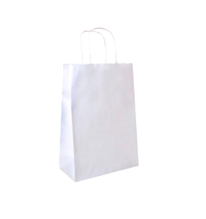 Papiertüten Kraft weiß mit Henkeln 26+14x32cm (50 Stück)