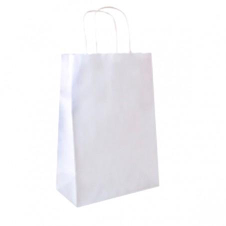 Papiertüten Kraft weiß mit Henkeln 25+13x33cm (25 Stück)