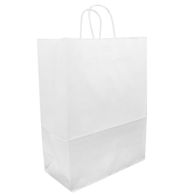 Papiertüten Kraft weiß mit Henkeln 32+16x43cm (50 Stück)
