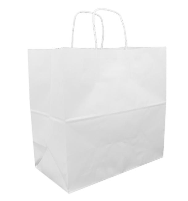 Papiertüten Kraft weiß mit Henkeln 32+16x31cm (250 Stück)
