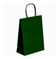 Papiertüten Kraft grün mit Henkeln 20+10x29cm (50 Stück)