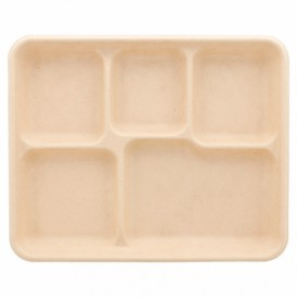 Tablett Zuckerrohr 5-Geteilt 265x215x20mm (50 Stück)