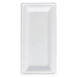 Tablett Zuckerrohr Bagasse Weiß 25,5x12,7 cm (50 Stück)