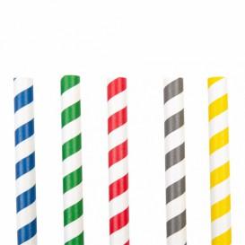 Trinkhalme aus Papier Sortiert Eigestränk Ø10mm 21cm (50 Stück)
