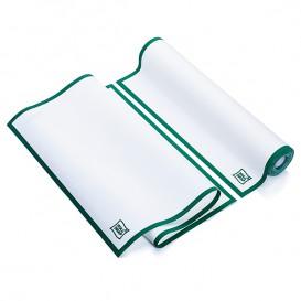 Weisses Küchenhandtuch mit Grünen Rand 40x64 cm P40cm (10 Stück)