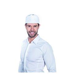 Kochmütze mit Gitter Baumwolle weiß (25 Stück)