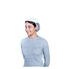 Kochmütze mit Gitter und Schirm Baumwolle weiß (1 Stück)