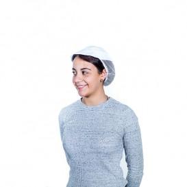 Kochmütze mit Gitter und Schirm Baumwolle weiß (25 Stück)