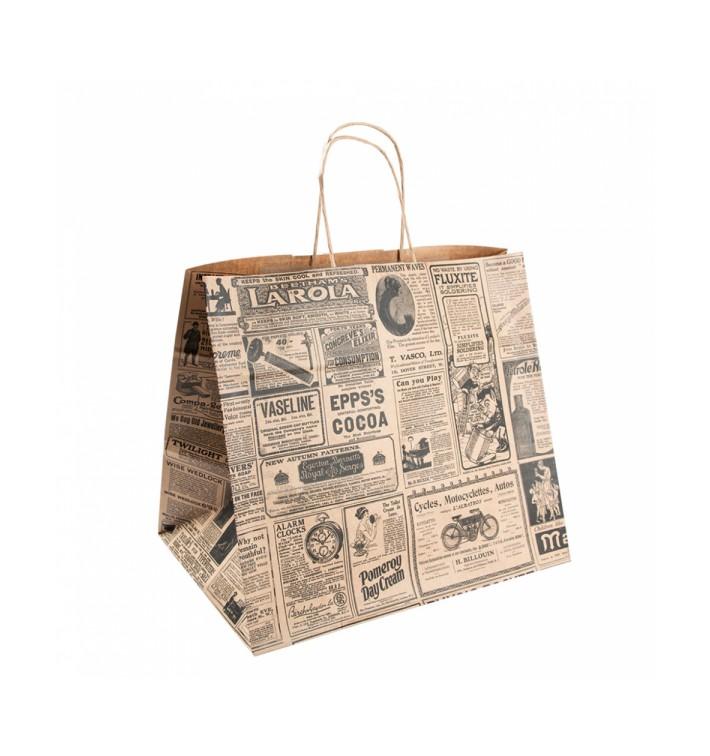 Papiertüten Kraft Times mit Henkeln 26+14x32cm (250 Stück)