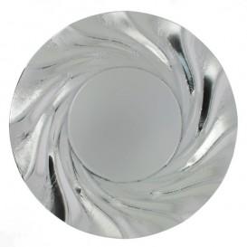 Pappteller Rund Silber Acuario 350 mm (100 Stück)