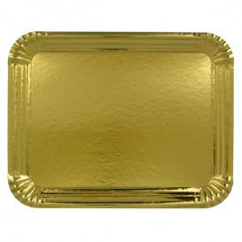 Pappschale rechteckig Golden 20x27 cm (100 Stück)