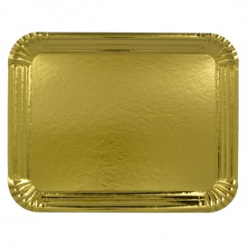 Pappschale rechteckig Golden 12x19 cm (100 Stück)