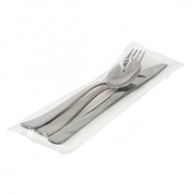 Besteckset Messer, Gabel, Löffel und Serviette silber (300 Stück)