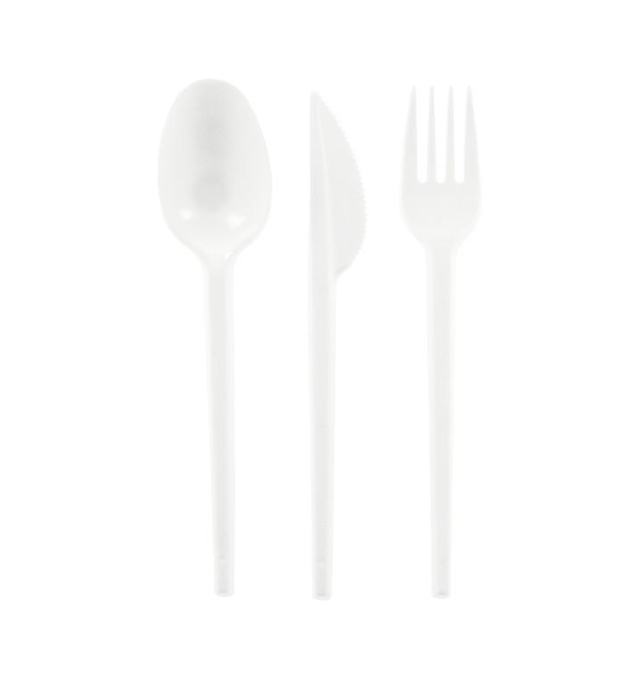 Besteckset Messer, Gabel und Löffel weiß