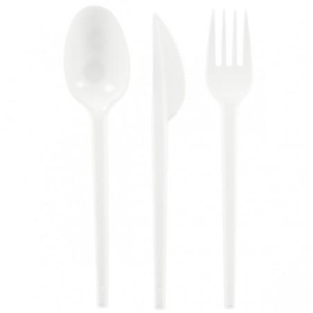 Besteckset Messer, Gabel und Löffel weiß (500 Stück)