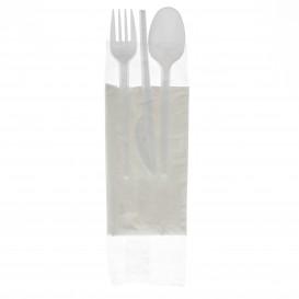 Besteckset Messer, Gabel, Löffel und Serviette weiß (250 Stück)