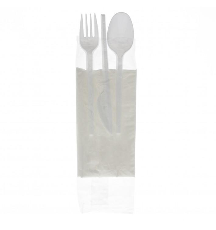 Besteckset Messer, Gabel, Löffel und Serviette weiß